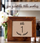 DIY Free Print Olive Leaf Wedding Table Numbers