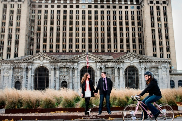 Corktown Train Station Detroit Engagement Photo