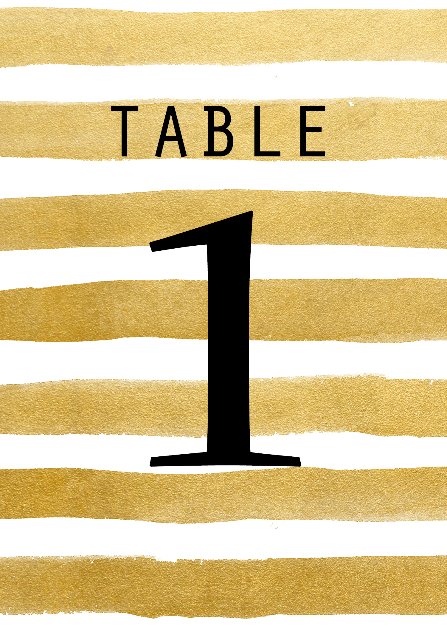 photograph relating to Free Table Numbers Printable named Totally free Printable: Gold Stripe Desk Quantities